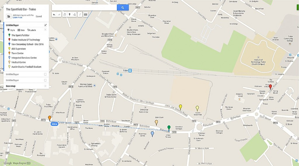 Sportsfield Pub Map and Proximity to key locations